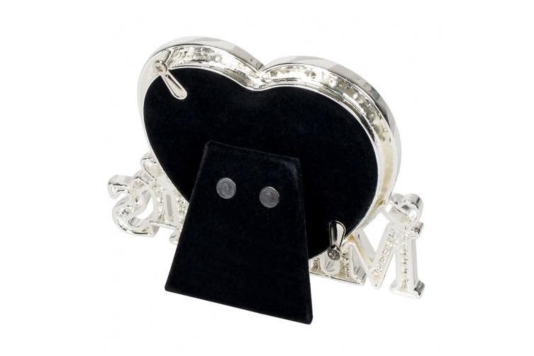 Mr & Mrs Silver Heart Jewel Encrusted 3.5 Inch Tabletop Wedding Picture Frame