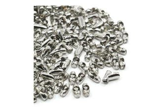 Packet of 100+ Platinum Iron 2.5 x 5mm Ball Chain Connectors - (Y06790) - Charming Beads