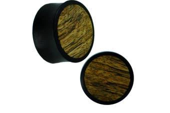 (16 mm) - Chic-Net Wooden plug ironwood black bright inlay grain dark Tribal Piercing