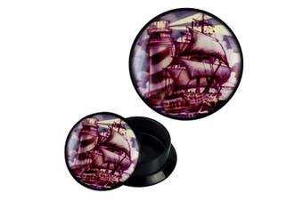 (20 mm) - Screw Plug acrylic lighthouse ship sailing lilabraun Piercing Earrings