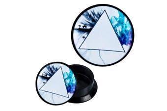 (06 mm) - Screw Plug acrylic prism birds blue turquoise waves Piercing Earrings