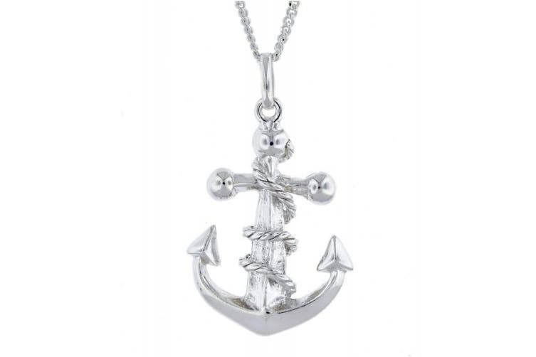 Tuscany Silver Sterling Silver Rope Wrapped Anchor Pendant on Curb Chain of 51cm/20""