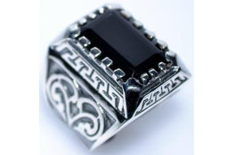 (V) - Mens Solid Sterling 925 Silver Black Onyx Gents Ring, Emerald cut Gemstone Signet Rings! Sizes N to Z+5 available