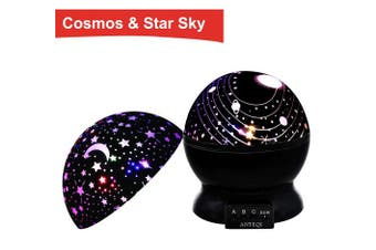 (Black) - Night Light Kids Lamp, Romantic Rotating Sky Moon & Cosmos Cover Projector Night Lighting for Children Adults Bedroom, Mood/Decorative Light, Baby Nursery Light, Living Room Gift (Black)
