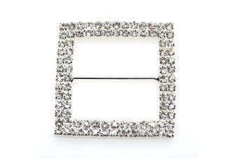 5pcs 47mm x 47mm Silver Square Shaped Rhinestone Buckle Slider for Wedding Invitation Letter