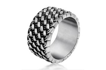 Chryssa Youree Men's Retro Design Jewellery Wedding Band Woven Titanium Steel Silver Rings 7 to 12(DJZ-1) (size 11)
