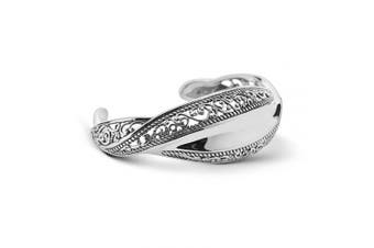 (SMALL) - Carolyn Pollack Sterling Silver Wave Cuff Bracelet Size S, M or L