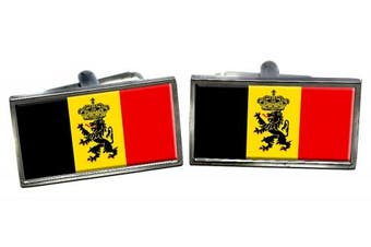Staatsvlag van België (Belgian State) Flag Cufflinks in a Chrome Case