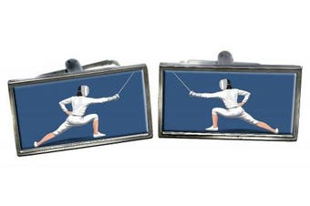 Fencing Rectangle Cufflinks in a Chrome Case