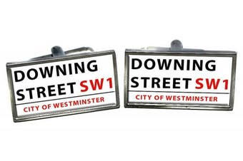Downing Street Cufflinks in a Chrome Case