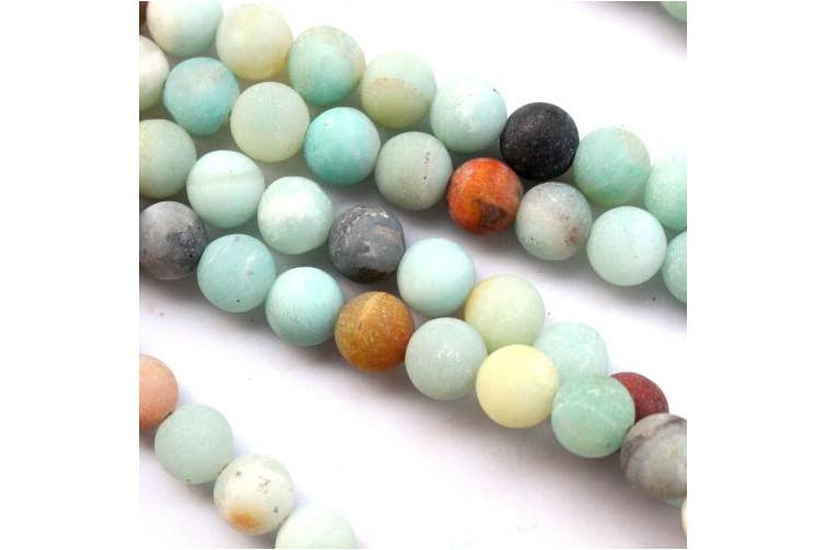 (10mm) - Natural Unpolished Frosted Amazonite Round 10mm Gemstone Jewellery Making Beads Findinds Supplies