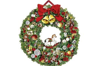Large Traditional Christmas Card Advent Calendar Deluxe - Christmassy Wreath