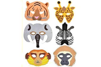 6 Rainforest / Safari / Jungle Animal Foam Masks - Made by Blue Frog Toys