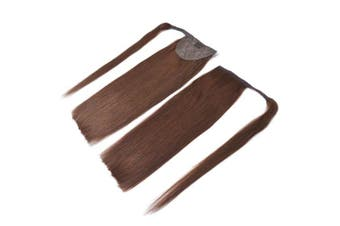 (46cm -100g, 4#(Dark Brown)) - 46cm Straight Wrap Around Ponytail Human Hair Extensions for Women 100gram Chocolate Brown #4