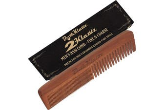 (2Klawz Combo) - 2Klawz Hair Comb for Men - Hair and Beard Comb with Wide and Fine Teeth Full Size 18cm Combination Comb - Best Man Comb Grooming Gift Special Gift For Mens comb Clark Kent Comb Brush