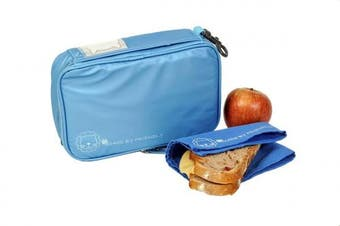 (Blue) - Friendly Kids Insulated Reusable Lunch Bag, Blue