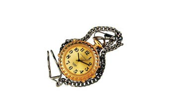 Mens Tel-Time Gold-Tone-Coloured Pocket Talking Watch with Gold-Toneen Chain