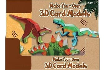 (Dinosaur Card Models) - Dinosaur Make Your Own 3D Card Models Creative Kids Gift Toy Fun Travel Party Stocking Filler Origami