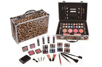 Cameo Carry All Trunk Train Case with Makeup and Reusable Aluminium Case Leopard