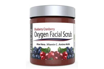 Blueberry Cranberry Oxygen Facial Scrub - Facial Exfoliator packed with Anti Ageing Antioxidants for Radiant Skin. All Natural & Organic Great for All Skin Types including Dry or Sensitive. 270ml