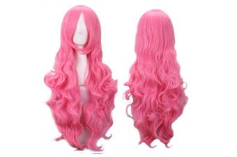 (Pink) - AneShe 80cm Fascinating Long Curly Hair Wig Costume Cosplay Party Wigs (Pink)