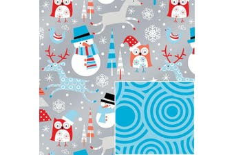 Reversible Snowplay Snowman Swirls Gift Wrap Wrapping Paper - 4.6m Roll