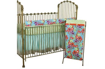 Cotton Tale Designs Lagoon Front Rail Cover Up Set, Turquoise/Purple/Orange/Green, Standard Crib