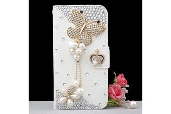 (Pearl Butterfly) - iPhone 7 Plus Wallet Case, UnnFiko Handmade Luxury 3D Bling Crystal Rhinestone Leather Purse Flip Card Pouch Stand Cover Case for iPhone 7 Plus 14cm (Pearl Butterfly)