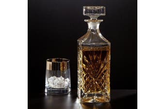 Crystal Whiskey, Wine, Bourbon, Tequila or Scotch Decanter Vintage Square Design Decanter Bottle with Stopper (750ml) ...