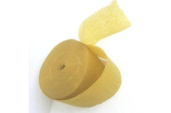 Affordable 25m Crepe Paper Party Streamer - Olive Gold
