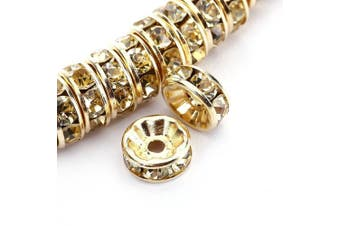 (8 mm, Gold Plated/#213 Jonquil) - BRCbeads 8mm Gold Plated Crystal Rondelle Spacer Beads 100pcs per bag for jewelery making(#213 Jonquil)