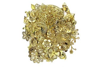 (50, Gold Filigree Charm) - ALL in ONE Mixed Gold Filigree Charm Pendant Jewellery Findings: 50g