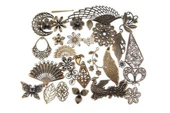 (50, Antique Bronze Filigree Charm) - ALL in ONE Mixed Antique Bronze Filigree Charm Pendant Jewellery Findings: 50g