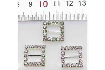 50pcs 15mm Silver Square Shaped Rhinestone Buckle Slider for Wedding Invitation Letter