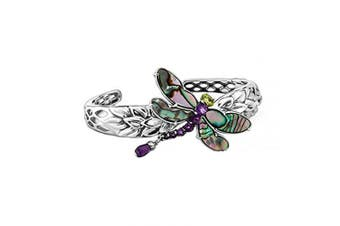 (SMALL) - Carolyn Pollack Sterling Silver Abalone, Purple Amethyst and Green Peridot Gemstone Dragonfly Cuff Bracelet Size S, M or L