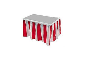 (1) - Red & White Striped Table Skirt Carnival Circus Decorations (1)