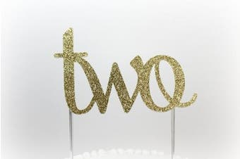 Handmade 2nd First Birthday Cake Topper Decoration - two - Made in USA with Double Sided Gold Glitter Stock