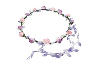 (Standard, Pink and Lilac Lilac Trail) - Flower Head Garland Crown Floral Festival Wedding Holiday Prom Hair Pink & Lilac Lilac Trail