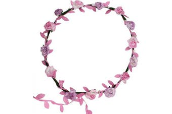 (Standard, Pink & Pink Leaves) - Flower Head Garland Crown Floral Hair Garland Festival Wedding Holiday Prom Hair Pink B With Trailing Leaves
