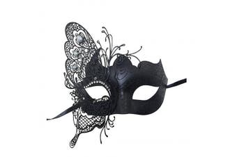 (Black-2) - Coddsmz Mysterious Venetian Butterfly Shiny Butterfly Lady Masquerade Halloween Mardi Gras Party Mask