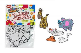 KIDS 3D ANIMAL PUZZLE AND PAINTING SET