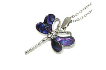 (Purple Colour) - Beautiful Natural Abalone Inlaid Paua Shell Dragonfly Pendant On Silver Colour Necklace - Adjustable - In Gift Box