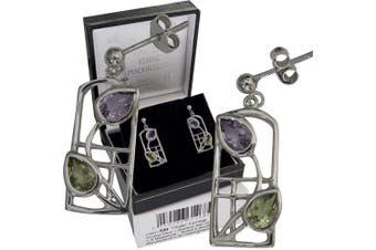 "Cairn 599 Silver Rennie . Earrings - ""Thistle"" Amethysts & Peridots. Tarnish Resistant. British Made. Rennie . Jewellery."