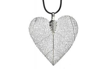 (Silver plated) - Real Natural Leaf Ana Morales Women's Pendant Length ca 45mm