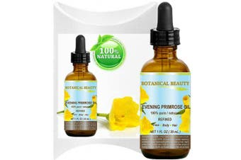 EVENING PRIMROSE OIL. 100% Pure / Natural / Undiluted / Refined / Cold Pressed Carrier Oil. 1 Fl.oz.- 30 ml. Rich antioxidant to rejuvenate and moisturise the skin and hair.
