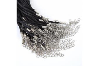 """Bingcute 50Pcs Black Satin Necklace Cord 2.0mm Size/20Inch length with Lobster Clasp 2""""inch Extended Chain"""