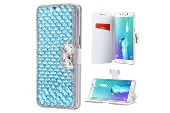 (iPhone 7 Plus[14cm ], Light Blue) - iPhone 7 Plus Wallet Case,Inspirationc and Made Luxury 3D Bling Crystal Rhinestone Leather Purse Flip Card Pouch Stand Cover Case for iPhone 7 Plus 14cm --Light Blue