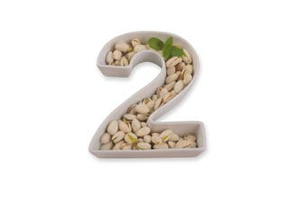 (Number 2) - White Ceramic Number Dish for Table Decoration, Number 2
