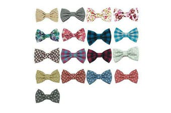 (17pcs 2.5 inch cotton fabric hair bow) - CN 17pcs 6.4cm Boutique Baby Girls Hair Bows, Cotton Fabric Barrettes With Ribbon Covered Alligator Clip For Baby Girls Toddler Infant
