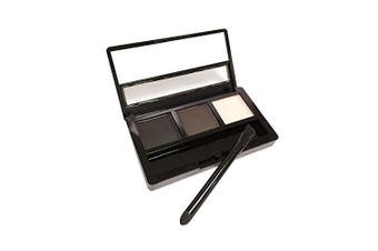 AMarkUp Three-Dimensional Natural 3-Colour Face Eyebrow Powder Eye Shadow Palette with Double Sided Makeup Brushes Mirror Set (#02 Black)